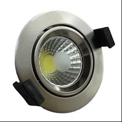Στρογγυλό Σποτ Led  Χωνευτό Κινητό 8 Watt Θερμό Λευκό Inox